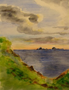 Farallon Islands from Point Reyes on a winter day.  Copyright Robin L. Chandler.