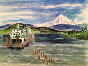 View of Mt. Baker from the Anacortes ferry landing. Copyright 2013 Robin L. Chandler