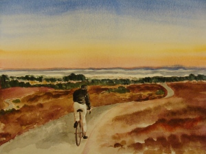 Sunset on Monterey Bay from the UC Santa Cruz bike path. Copyright Robin L. Chandler 2013.