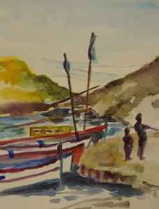 Sketch of harbor near Dali's home in Port Lligat, Catalonia. Copyright Robin L. Chandler 2013.