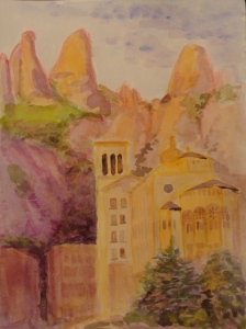 Montserrat Abbey at sunrise. Copyright Robin L. Chandler 2014.