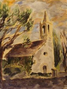 Sunset at La Rectoria de Sant Miquel de Pineda. Copyright Robin L. Chandler 2014.