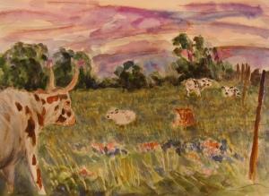 Longhorns, Bluebonnets, and Indian Paintbrush. Copyright Robin L. Chandler 2013.