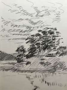 Tomales Bay looking north from Point Reyes Station, charcoal sketch. Robin L. Chandler Copyright 2015.