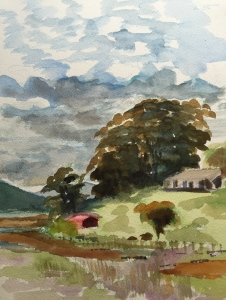 Tomales Bay looking north from Point Reyes Station, watercolor. Robin L. Chandler Copyright 2015